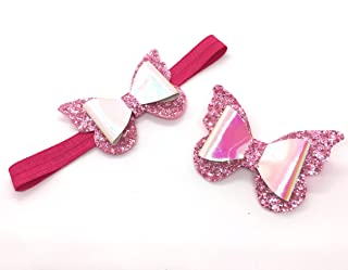 Butterfly bow glitter and shiny leather head band and clips for girl