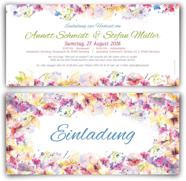 Einladungen zur Hochzeit (60 (60 (60 Stück) im Blaumen Aquarell Motiv Hochzeitseinladungen B01ANVJRDQ | Treten Sie ein in die Welt der Spielzeuge und finden Sie eine Quelle des Glücks  88c813