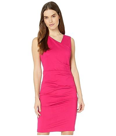 Nicole Miller Ponte Asymmetrical Sleeveless Dress (Fuchsia) Women