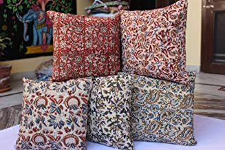 Womencrafts 5 Pcs Wholesale Lot Handmade Floral Print Cushion Cover Throw Decorative Cotton Pillow Case Indian Block Print Cushion Cover