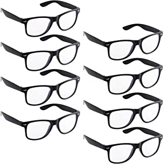 8 Pieces Nerd Costume Glasses 80's Style Vintage Style Black Frame Glasses for Halloween Themed Party