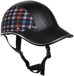 MeterMall Lightweight Unisex Summer Cycling Helmet Baseball Cap for Motorcycle Bike Riding(Plaid Pattern)