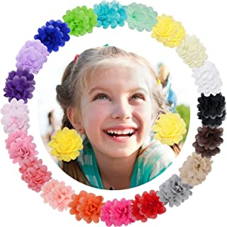 "WillingTee 40pcs 2"" Chiffon Flower Hair Ties Elastic Ponytail Holders Hair Ties Hair Accessories for Baby Girls Infants To..."