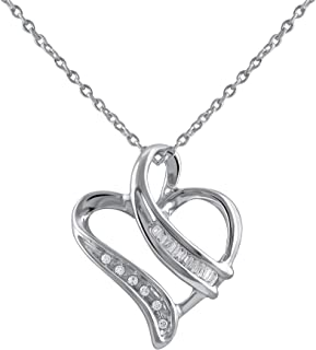 Pendant Sterling Silver (I-J Color, I3 Clarity) Real Diamonds Necklace Charm in Heart Design with 18