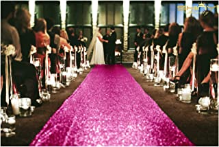 Hot Pink Carpet Aisle Runner-36Inchx15FT Sequin Aisles Floor Runner Carpert Runner for Ceremony (Hot Pink)