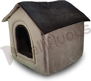Mellifluous Foldable Velvet Fabric Dual Color House/Hut for Dogs & Cats (Medium, Grey-Black)