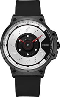 CADISEN Mens Sports Watches Stylish Unique Design Simple Military Waterproof Rubber Band Watches/Black