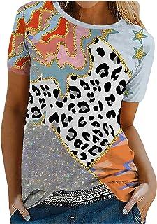 YANFANG Camiseta De Manga Corta Suelta con Cuello Redondo Y Estampado Informal A La Moda para Mujer, Blusa Superior, Jerse...
