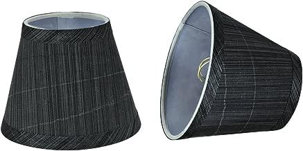 Aspen Creative 32061-2 Small Hardback Empire Shape Chandelier Clip-On Lamp Shade Set (2 Pack), Transitional Design in Grey & Black, 5