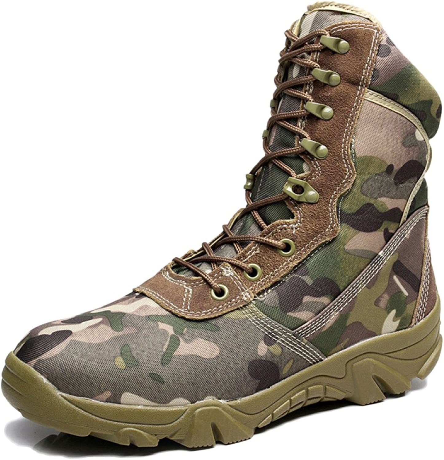 QIKAI Tactical Boots Zip Camouflage Military Boots Commando High Boots Desert Boots Autumn and Winter Hiking shoes