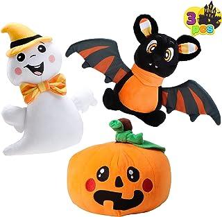 Halloween Stuffed Plush Toys Set, 3 Pack Halloween Stuffed Plush Dolls(Ghost, Pumpkin & Bat), Best Gift Suitable for Party...