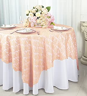 Wedding Linens Inc. 54 in Square Lace Table Overlays, Lace Tablecloths, Lace Table Overlay Linens, Lace Table Toppers for Wedding Decorations, Events Banquet Party Supplies (Apricot/Peach)