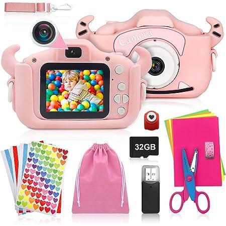 ShengRuHai Cámara de Fotos Digital para Niños,Cámara Digitale Selfie con Tarjeta de Memoria SD 32GB,HD 1200 MP/1080P Doble Objetivo Regalos de Cumpleaños