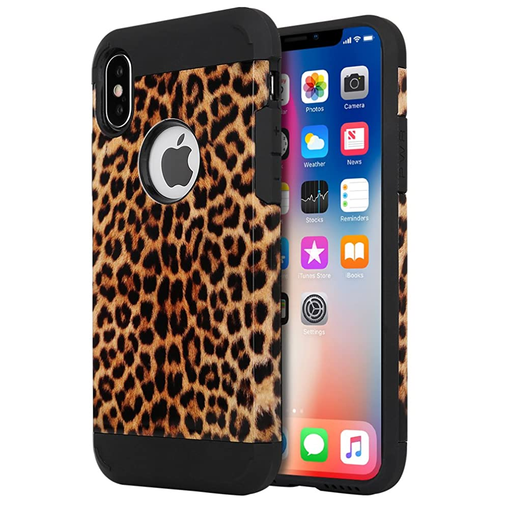iPhone X Case, iPhone 10 Case, LOEV Shock Proof Dual Layer Hybrid Protective Case Hard PC & Soft Rubber Scratch Resistant Cover Tough Bumper Armor Case for Apple iPhone X/10 - Leopard Print Pattern