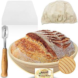 Walfos Panier rond Banneton de 9 pouces - Panier à pain au sauce style français - 100 % rotin naturel - Lame, grattoir et ...