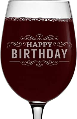 Happy Birthday (English) Etched 16oz Stemmed Wine Glass