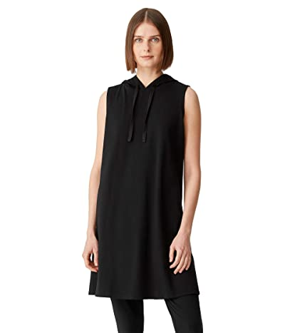 Eileen Fisher Hooded Sleeveless Knee Length Dress in Organic Cotton Stretch Jersey