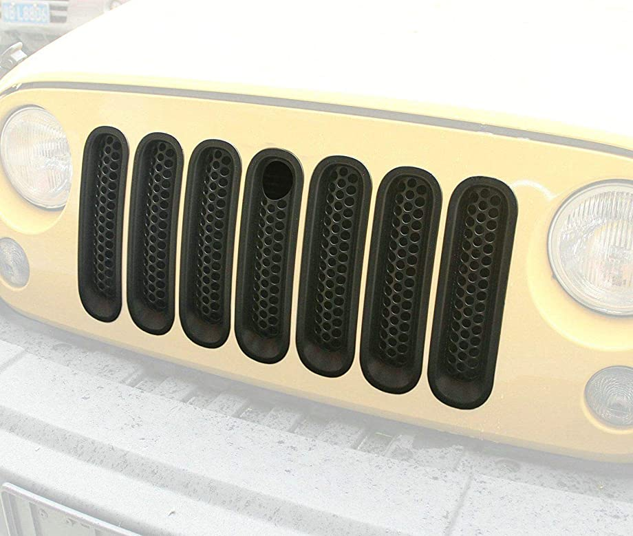 Bolaxin [Upgrade Clip in Version] Black Matt Front Grill Mesh Grille Insert with Key Hole Fit Hood Lock for Jeep Wrangler Jk Rubicon Sahara & Unlimited 2007-2015 -7pcs