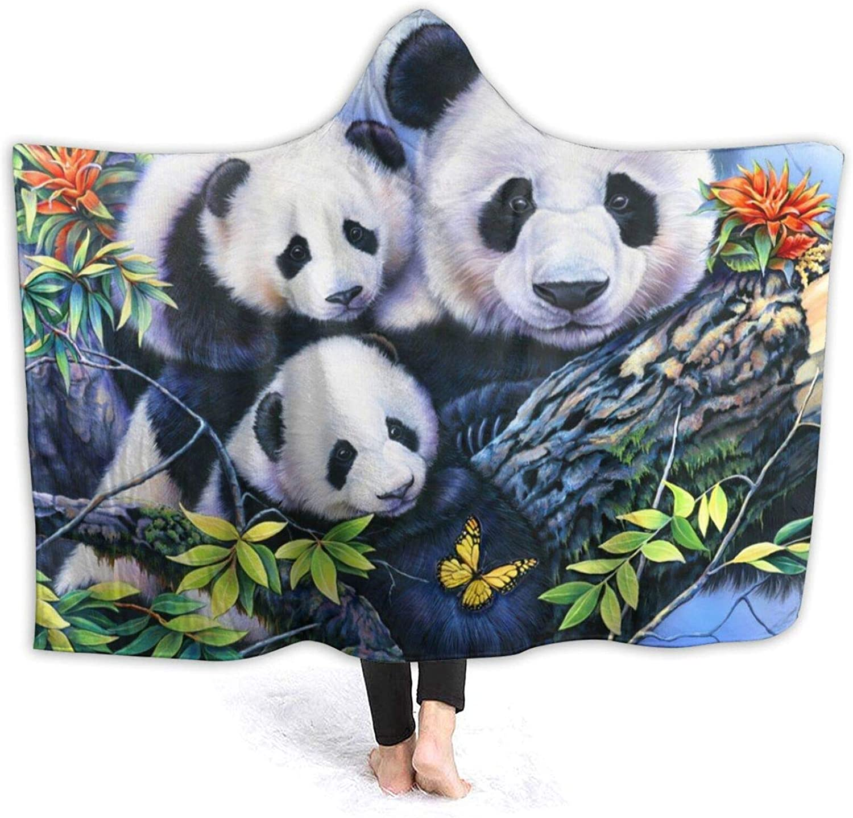 NYIVBE Precious Pandas Hooded 40% OFF Cheap Sale Blanket Cozy Ranking TOP6 Fleec Super Warm Soft