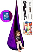 AMAZEYOU Kids Swing Hammock Pod Chair - Child's Rope Hanging Sensory Seat Nest Indoor Outdoor Use Inflatable Pillow - Great Children, All Accessories Included (Purple)