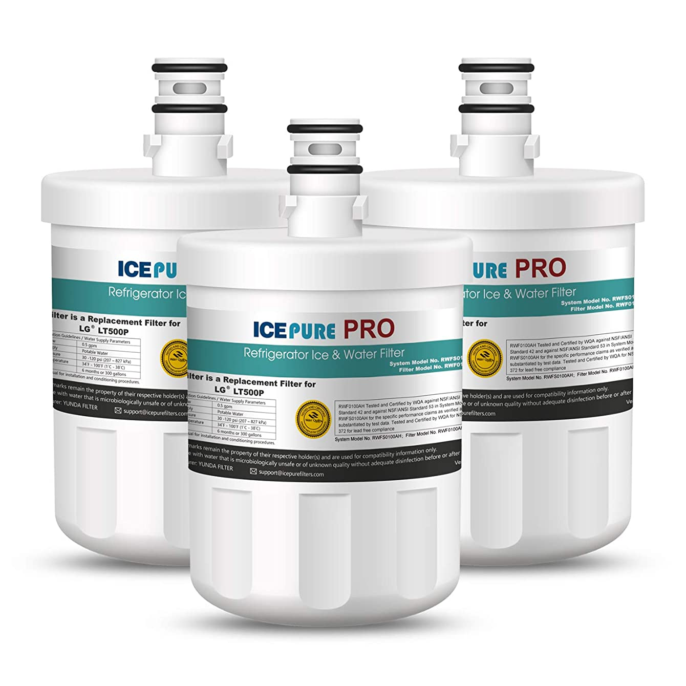 ICEPURE PRO LT500P NSF 53&42 Certified Refrigerator Water Filter Replacement for LG LT500P,5231JA2002A,ADQ72910901,5231ja2002a RWF0100A Advanced Series 3PACK