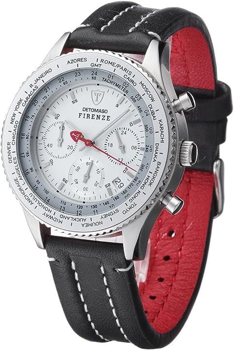 Detomaso - firenze - orologio da uomo cronografo beige e bracciale in pelle marrone sl1624c-bg SL1624C-CH