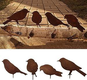Birds Decoration Lifelike Rusty Patina Metal Birds Garden Ornaments Silhouette Simulation Bird Figurine Home Decor Rustic Outdoor Patio Yard Adornment Metalbirds Statues