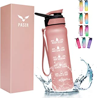 PASER Water Bottle 24oz, 32 oz with Straw, Motivational Time Marker & Straw Brush, Leakproof Tritran BPA Free Fast Flow Wa...