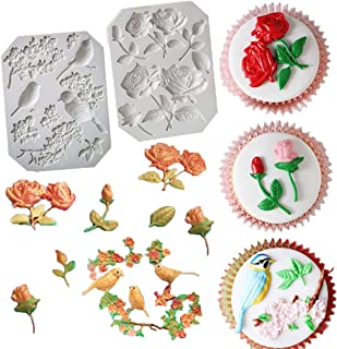 UOFEIVS The Easiest Rose Stems Bird Blossoms Fondant mold Cake Decorating Tools Gumpaste Flowers mold Non stick Chocolate Candy Clay pottery Moulds sugarcraft baking tool