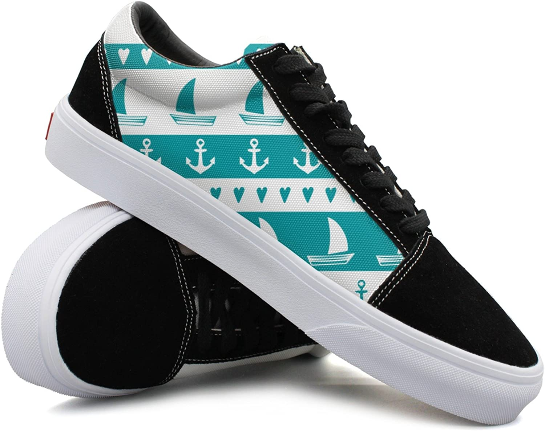 Women Anchor Sailboat Hear Fashionable Womens Sneakers