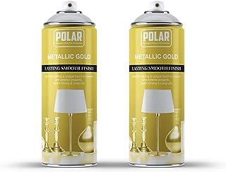 Polar Premium Gold Metallic Spray Paint, Pack of 2 - (2x 200ml) Multi-Purpose Use, For Interior and Exterior Use.
