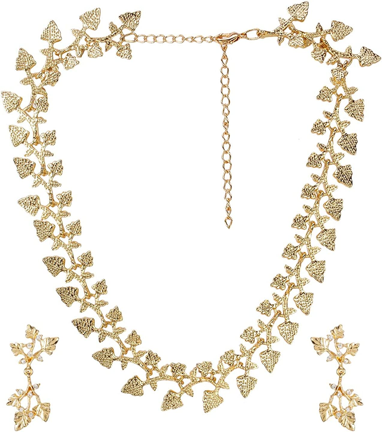Crunchy Fashion Bollywood Style Gold Plated Party Wear Traditional Indian Crystal Jewelry Necklace and Earrings Set