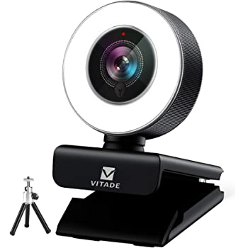 Webcam 1080P with Microphone & Ring Light, Vitade 960A Pro USB HD PC Web Camera Video Cam for Streaming Gaming Conferencing Mac Windows Desktop Computer (Tripod Included)