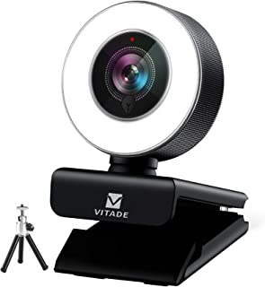 Webcam 1080P with Microphone & Ring Light, Vitade 960A Pro USB HD PC Web Camera Video Cam for Streaming Gaming Conferencin...