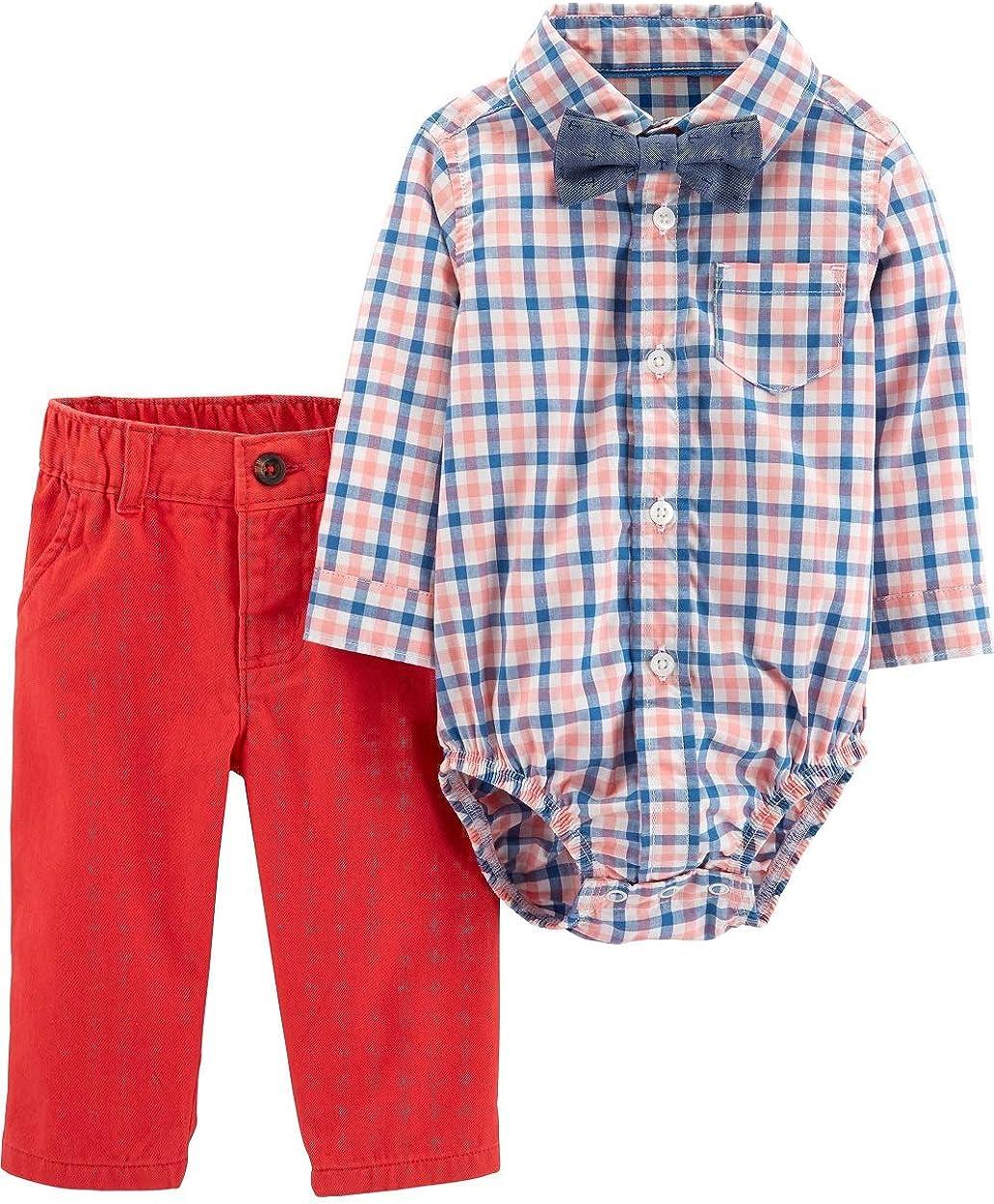 Carter's Infant Boys Coral Plaid Flannel Button Up Shirt Bowtie & Jeans Outfit