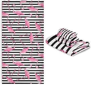 CaTaKu Lot de 3 serviettes de bain en forme de flamant rose tropical, 1 serviette de bain, 1 gant de toilette, 1 serviette...