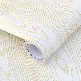 White Contact Paper Gold Wood Grain Self-Adhesive Waterproof 15.8