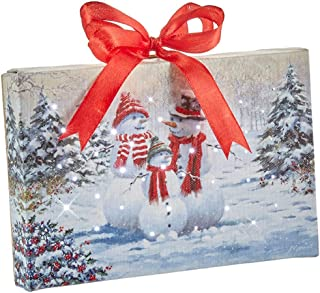 """Raz Imports Snowman Family Lighted Print Ornament with Easel Back 6""""L X 1""""W X 6""""H"""