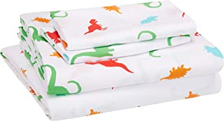 AmazonBasics Kid's Sheet Set - Soft, Easy-Wash Microfiber - Queen, Multi-Color Dinosaurs
