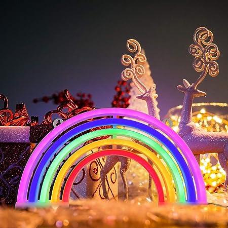 Putron Neon Light, Mignon Rainbow Décoratif Night Light, Décoration Murale Arc-en-Ciel pour Filles, Lampe LED, Utilisé pour Noël, Fête D'anniversaire, Chambre D'enfants, Décoration de Fête de Mariage