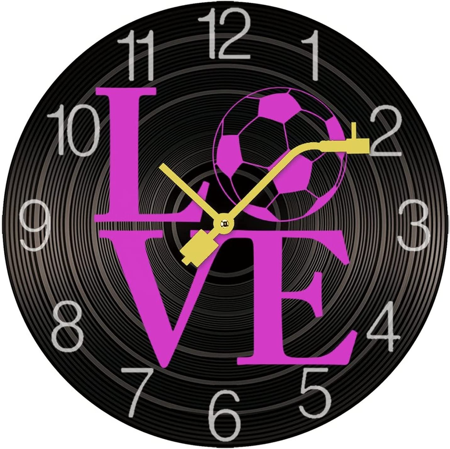 I Love Soccer Record Wall Frameless Di Overseas parallel import regular item Stylish ! Super beauty product restock quality top! Clock Personality