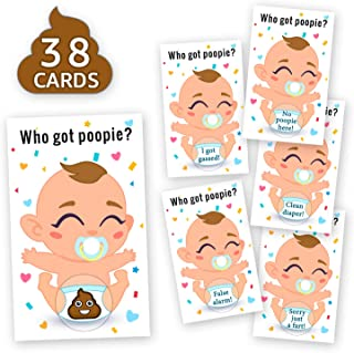 38 Baby Shower Raffle Card Game - Funny Poopie Emoji Lottery Card Ice Breaker Scratch Off Games Party Supplies - Door Prizes Celebrity Cards Tickets Games - Gender Neutral