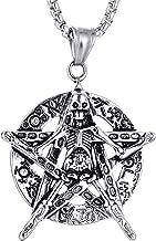 Adisaer Titanium Men Necklace Earth Pentagram Skeleton Skull Men Pendant Necklace