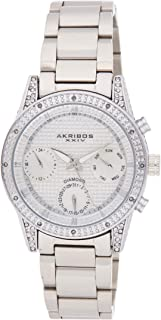 Akribos XXIV Diamond Studded Women's Watch – Day Date Subdials, Crystal Stone Case