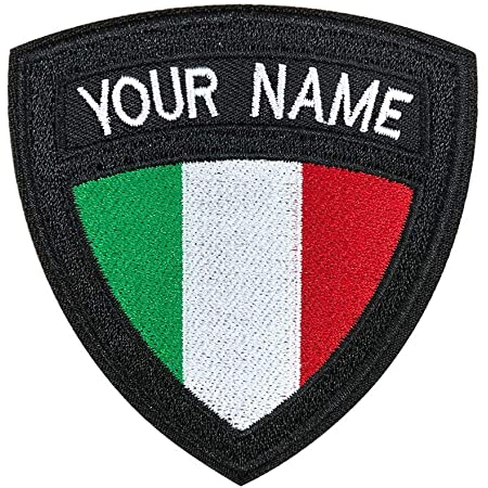 Toppa Tattica Militare Personalizzata con Nome, Etichetta Personalizzata con Ricamo, Toppa con Nome Bandiera Italiana su/Gancio e Anello per Giacche Zaino per Abbigliamento Multiplo