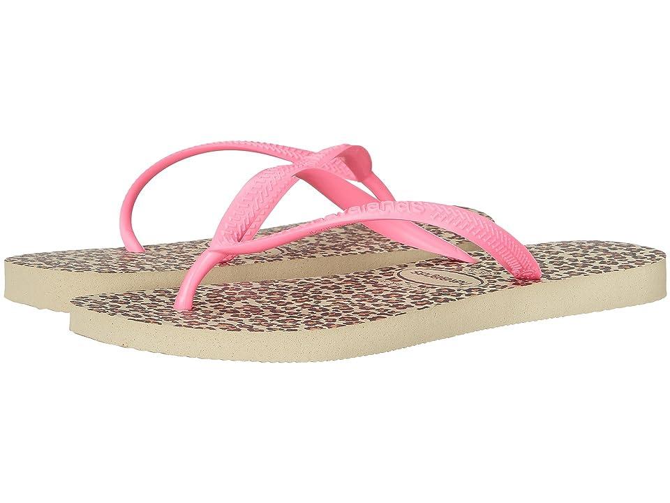 Havaianas Slim Animals Flip Flops (Sand Grey/Pink) Women