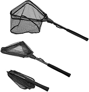 PLUSINNO Fishing Net Fish Landing Net, Foldable Collapsible Telescopic Pole Handle, Durable Nylon Material Mesh, Safe Fish...