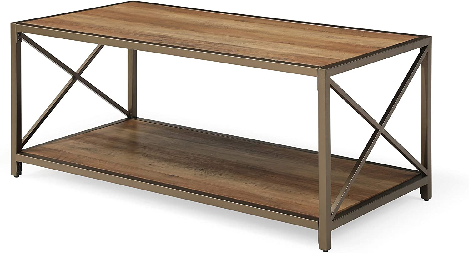Hodedah 47.2 inch Wide 2 Tier Coffee Table