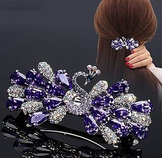 Crystal Peacock Hairpin Animal/Zodiac Headdress Horsetail Clip Spring Chuck Hair Top Clip Rhinestone Hairpin Female Hair A...