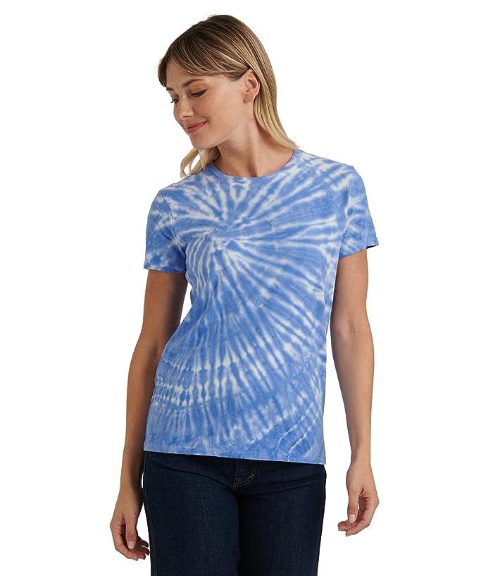 Lucky Brand  Short Sleeve Crew Neck Tie-Dye Tee (Blue Multi) Womens Clothing